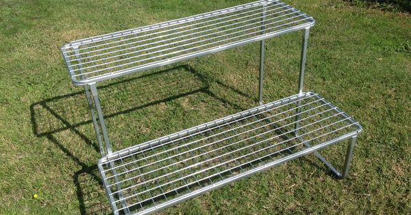 Galvanised steel plant stand for pot plant storage and growing grow potted herbs veggies - Steel pot plant stands ...
