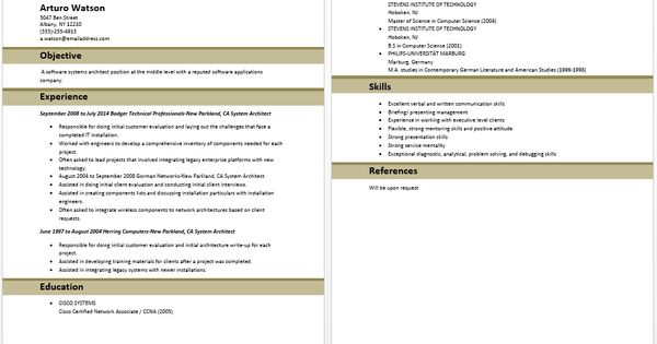 System Architect Resume Architect Resume Samples Pinterest - system architect sample resume