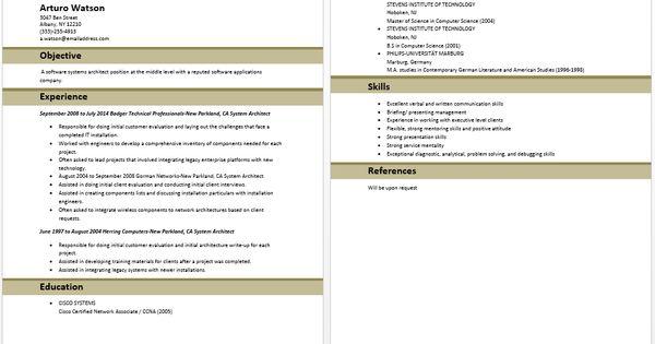 System Architect Resume Architect Resume Samples Pinterest - system architect sample resume
