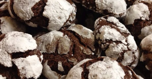 Chocolate crackle cookies from Martha Stewart's recipe. They were so ...