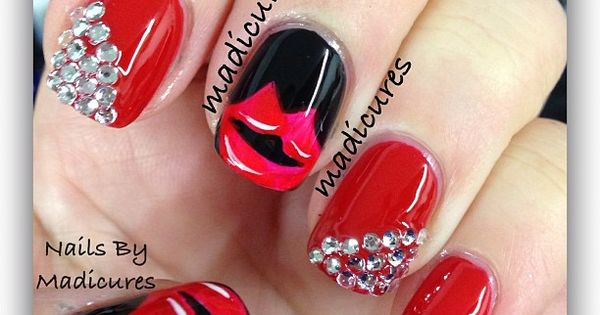 Kisses and bling ~red hot nail design~ so cute~~~