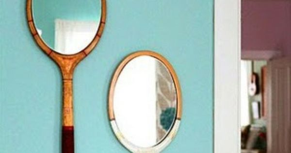 antique or old tennis rackets glue a cheap mirror on it and hang on the wall love nifty. Black Bedroom Furniture Sets. Home Design Ideas