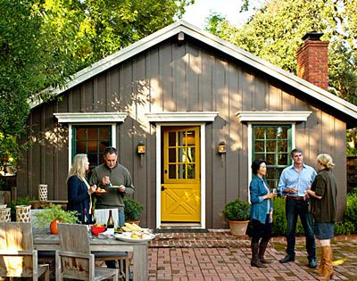 Gray house and yellow door; love the Dutch door