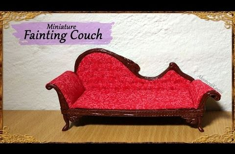 Miniature doll fainting couch polymer clay fabric for Small fainting couch