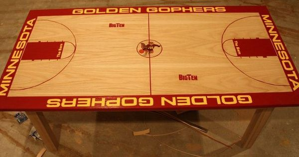 Coffee table made to look like my favorite basketball team for Build your own basketball court