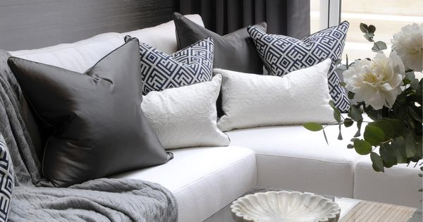 th2 Designs.© This corner sofa is adorned beautifully with scatter cushions ...