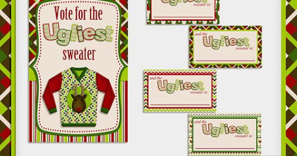 Ugly Christmas Sweater Party Printable Voting Ballots and ...