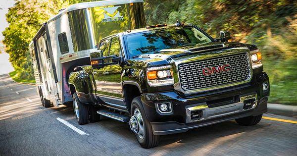 Black Sierra Denali 3500hd Dually Truck With Trailer Gmc Sierra