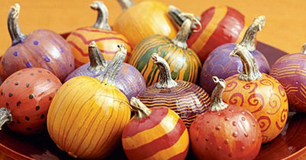 Painted Pumpkins- this looks like a fun little project