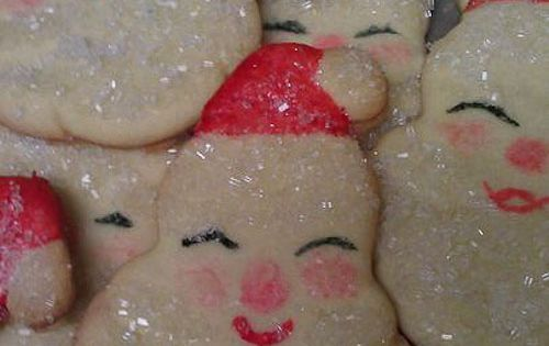 Sparkly Santa cookies. I have a cookie cutter for these!