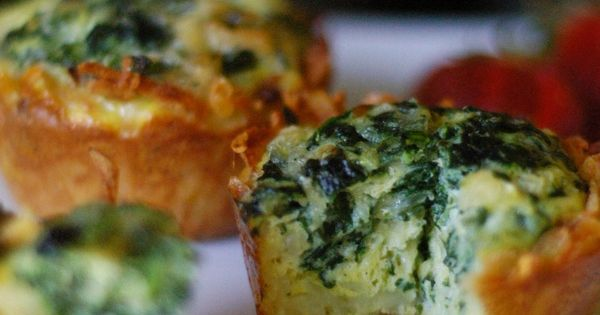 Mini Spinach and Gruyere Quiches with a Hash Brown Crust | Fun food ...