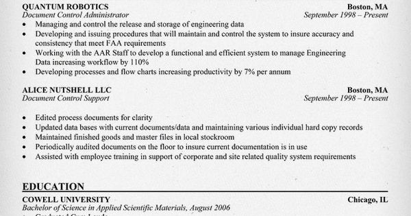 document control administrator resume help