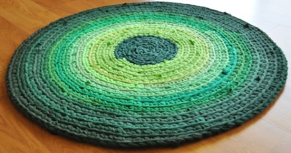 Ekra Shades Of Emerald Green Round Crochet Recycled T