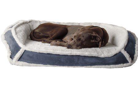 K9 Ballistics Orthopedic Lux Bolster Bed Cream Fur Blue Gray Micro Small 18 X 24 X 5 Orthopedic Dog Bed Cool Dog Beds Best Orthopedic Dog Bed