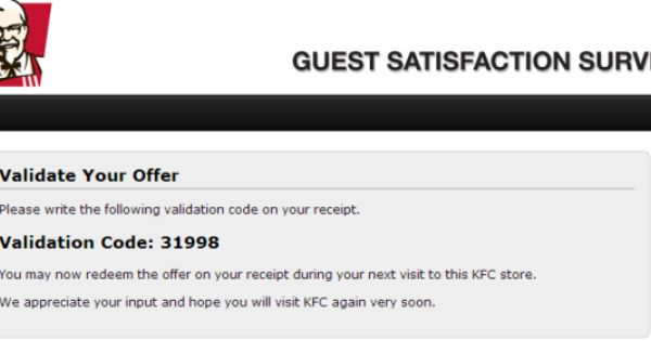 Kfc Guest Satisfaction Survey Uk Surveys Kfc Customer Survey