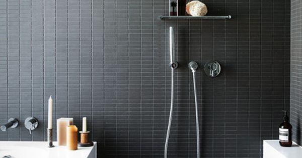 Dark tiles azulejos oscuros para el ba o bathrooms - Banos oscuros ...