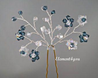 Floral Vine Hair Pin Flower Hair Pins Bridal Pearl Hair Pins Set of 5 Hair Pin Wedding Hair Accessories White Ivory Navy Blue Peal Clip