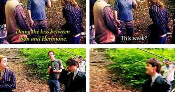 ron weasley and hermione granger, first kiss, harry potter, funny quotes