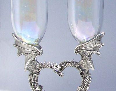Dragon Heart Toasting Flutes Rennaisance Pewter Wedding