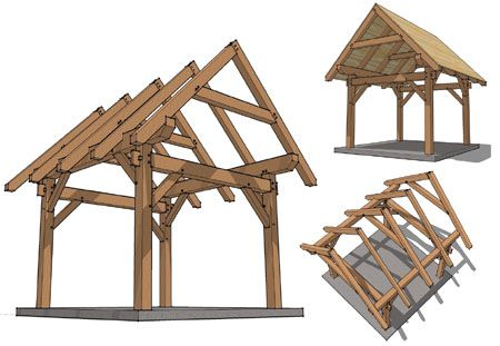Pergola Plans With Pitched Roof Timber Frame Hq Decks