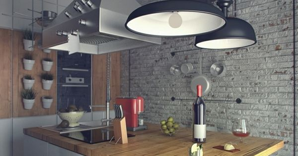 Cocina estilo industrial isla central con barra for Barra estilo industrial