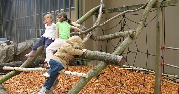 natural climbing structure preschool outdoor play outdoor play