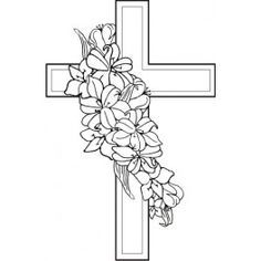 Cross Coloring Page Cross Drawing Lilies Drawing