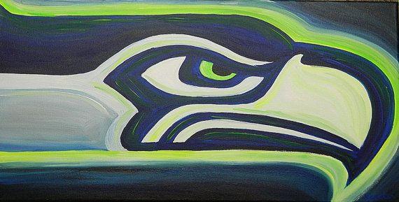 Seattle Seahawks Painting Sports Art Football Etsy Halcones Marinos De Seattle Futbol Americano Nfl Futbol Americano