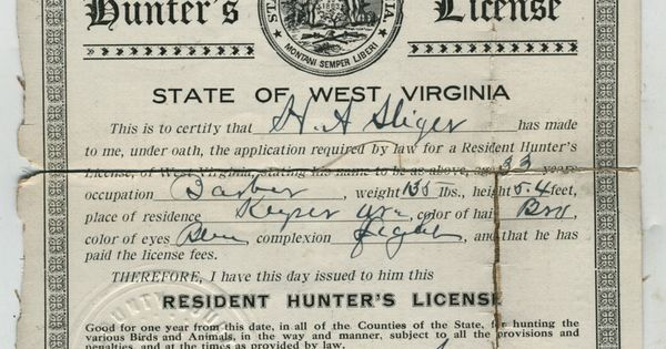 Original 1907 west virginia hunting license conservation for Virginia fishing license online