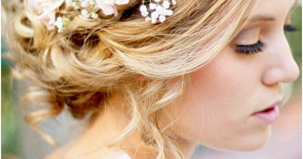 beautiful bohemian bridal hair. Flowers, crown braids, all of this is yes.