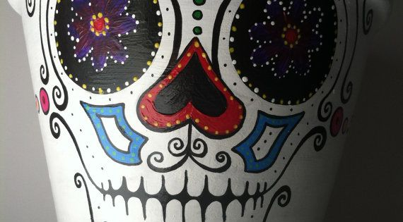 Day of the Dead flower pot planter Sugar skull catrina ...