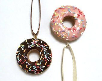 Polymer Charms Etsy Food Ornaments Ornament Set Donut Decorations