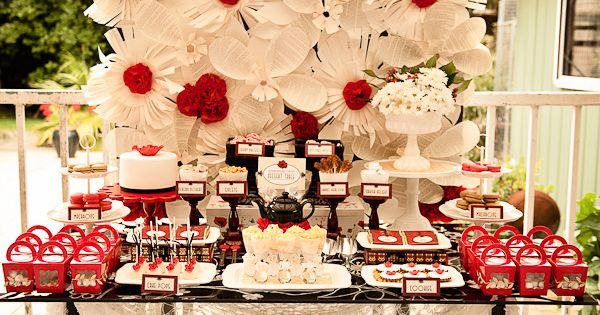 1920's Poppy High Tea / Baby Shower. Red and white dessert table