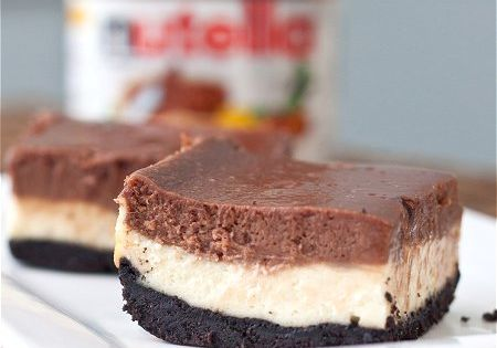 Nutella Cheesecake bars... definitely making this for my Easter Sunday treat!