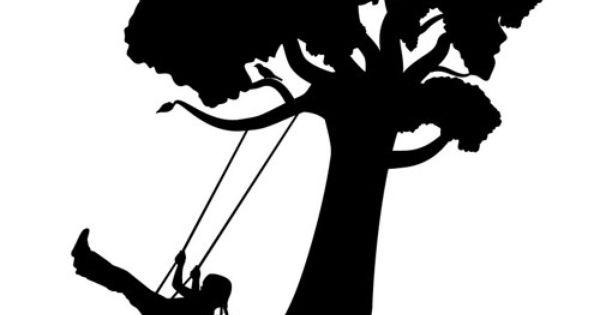 Watercolor Girl On Swing Silhouette Girl On Tree Swing