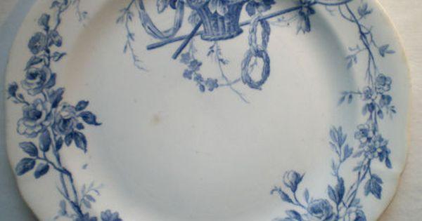 assiette terre de fer porcelaine gien panier de fleurs art nouveau mod le danube ebay gien. Black Bedroom Furniture Sets. Home Design Ideas