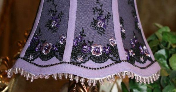 Lamp shade victorian purple passion sheer black for Purple beaded lamp shade