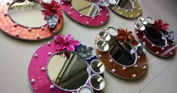 Pooja thali wedding pinterest diwali decoration and for Aarti thali decoration with grains