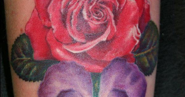 rose and violet tattoo by Mirek vel Stotker by stotker ...