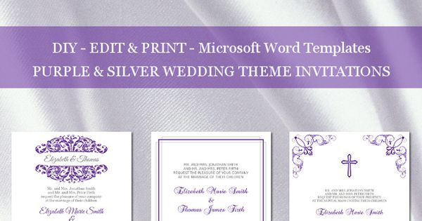 Silver And Purple Wedding Invitations: Purple And Silver Wedding Invitation Templates For