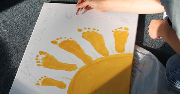 You Are My Sunshine Footprint Art ~ This would be so adorable as a Mother's Day card maybe with hand prints