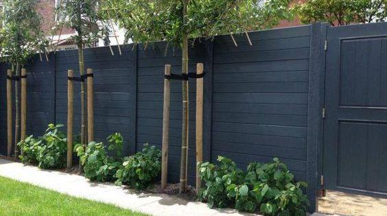 Mooie kleur schutting leuke smalle border met veel mooie groene planten tuin pinterest - Moderne tuin ingang ...
