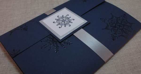 Navy Blue And Silver Wedding Invitations: Navy Blue And Silver Snowflake Handcrafted Pocket Fold