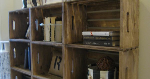 Bookshelves made from crates from Michaels and stained, super easy! Did I