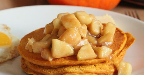 Pumpkin Pancakes with Spiced Apples thanksgiving breakfast recipes
