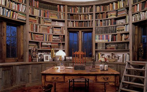 Library Room in the Silo of a Converted Barn Home... I am