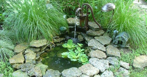 "Small pond with a ""pump"" fountain -- Sue's garden in Ohio -"