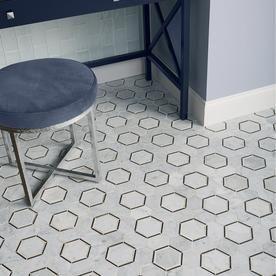 American Olean Genuine Stone Carrara Honeycomb Marble Mosaic Floor