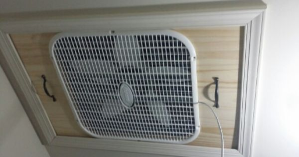 Integrated Box Fan Into Attic Entrance Alternative To Commercial Whole House Fan Whole House Fan House Home Organisation
