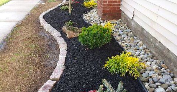 Landscape Ideas For The Side Of Your Home We Installed Belgian Block Curbing Planting Black